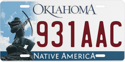 OK license plate 931AAC