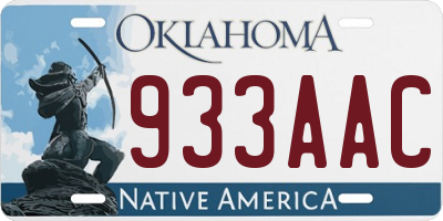 OK license plate 933AAC