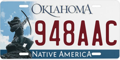 OK license plate 948AAC