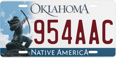 OK license plate 954AAC