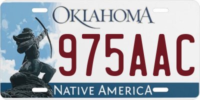OK license plate 975AAC