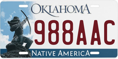 OK license plate 988AAC