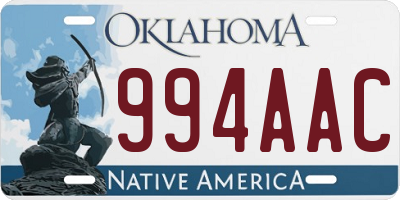 OK license plate 994AAC