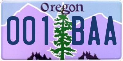 OR license plate 001BAA