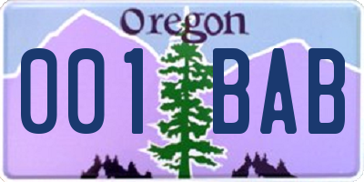 OR license plate 001BAB