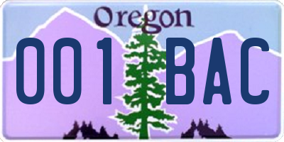 OR license plate 001BAC