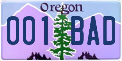 OR license plate 001BAD