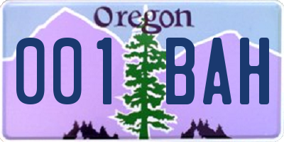 OR license plate 001BAH