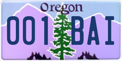OR license plate 001BAI