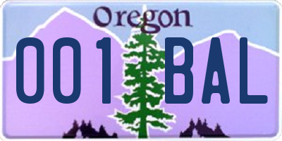 OR license plate 001BAL