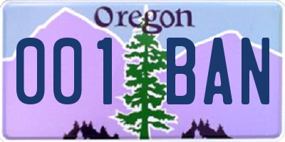 OR license plate 001BAN