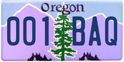 OR license plate 001BAQ