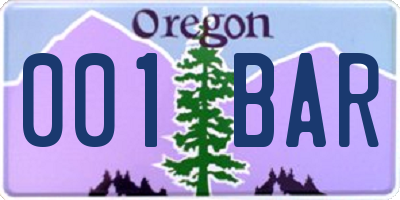 OR license plate 001BAR