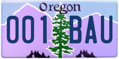 OR license plate 001BAU