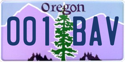 OR license plate 001BAV