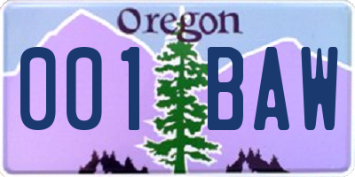OR license plate 001BAW