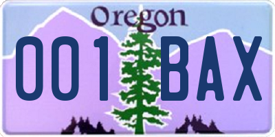 OR license plate 001BAX