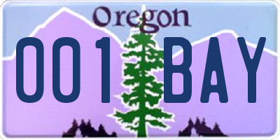 OR license plate 001BAY