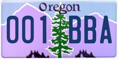 OR license plate 001BBA