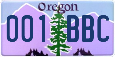 OR license plate 001BBC