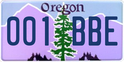 OR license plate 001BBE