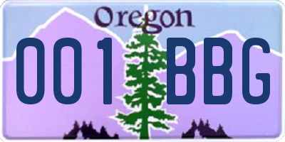 OR license plate 001BBG