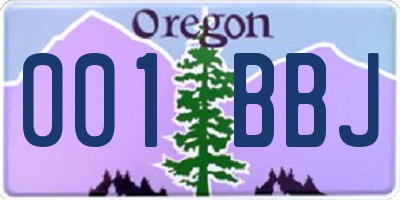 OR license plate 001BBJ