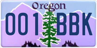 OR license plate 001BBK