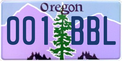 OR license plate 001BBL
