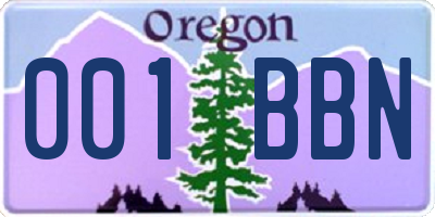 OR license plate 001BBN