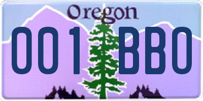 OR license plate 001BBO
