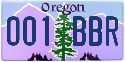 OR license plate 001BBR
