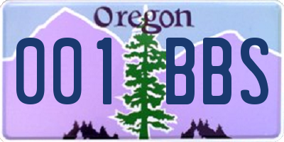 OR license plate 001BBS