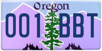OR license plate 001BBT