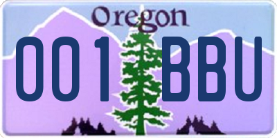 OR license plate 001BBU