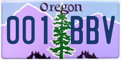 OR license plate 001BBV