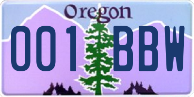 OR license plate 001BBW