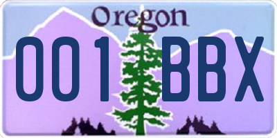 OR license plate 001BBX