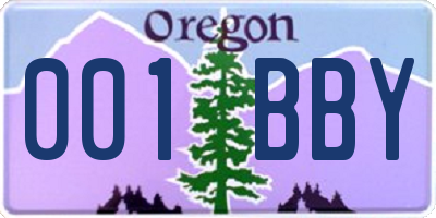 OR license plate 001BBY