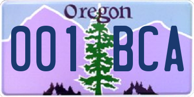 OR license plate 001BCA