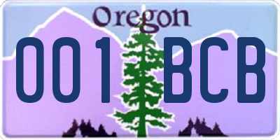 OR license plate 001BCB