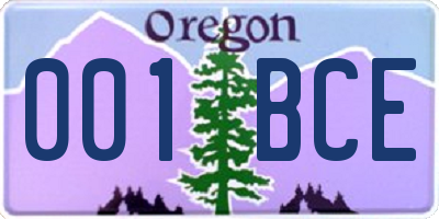 OR license plate 001BCE