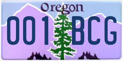 OR license plate 001BCG