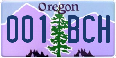 OR license plate 001BCH