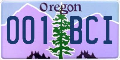 OR license plate 001BCI