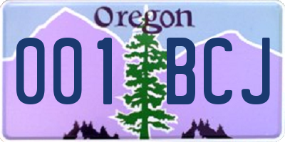 OR license plate 001BCJ