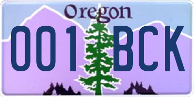 OR license plate 001BCK