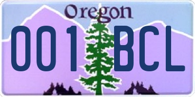 OR license plate 001BCL