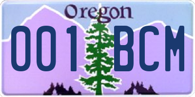 OR license plate 001BCM
