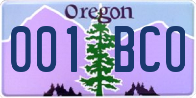 OR license plate 001BCO